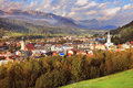 The town is illuminated by the sun gorgeous austria picturesque small wonderfully mountain valley in alps Stock Photo