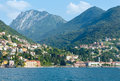Town on lake como summer coast italy view from ship board Stock Photo