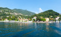 Town on lake como summer coast italy view from ship board Royalty Free Stock Photography