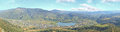 Town lake and mountains panorama of rua de valdeorras galicia spain with a small Stock Photos