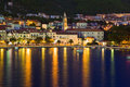 Town Makarska in Croatia at night Royalty Free Stock Photos