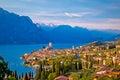 Town of Malcesine on Lago di Garda skyline view Royalty Free Stock Photo
