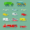 Town municipal special, emergency service cars and trucks icons collection. Vector city transport set in flat style.