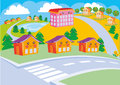 Town nice suburb with cheerful houses in the style of kawaii Royalty Free Stock Photography