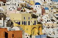 The Town of Oia Climbs up the Hill in Santorini Royalty Free Stock Images