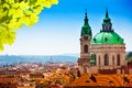 Town panorama and malostranske namesti of prague dome tower Stock Photo