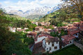 The town of Potes at a sunny morning on a background of mountains, Cantabria, Spain Royalty Free Stock Photo