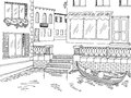 Town river graphic black white sketch illustration