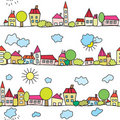 Town seamless funny pattern Royalty Free Stock Images
