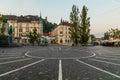 Town Square, Ljubljana Castle and Triple bridges in Ljubljana Royalty Free Stock Photo
