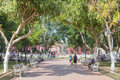 Town square valladolid mexico january locals and tourists enjoy beautiful warm winter weather in the shady park surrounding the Stock Images
