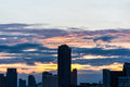 Town and sun down at bangkok thailand Royalty Free Stock Photography