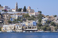 Town of symi greece traditional houses in the near rhodes Royalty Free Stock Photos