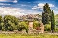 The town of tivoli as seen from villa adriana ruins hadrian s italy Stock Images