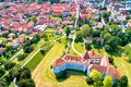Town of Varazdin historic center and famous landmarks aerial view Royalty Free Stock Photo