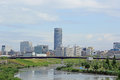 Town of the waterside photographed shin yokohama from park that is located in Stock Image