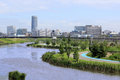 Town of the waterside photographed shin yokohama from park that is located in Royalty Free Stock Photography