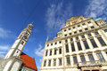 Townhall of augsburg with st peter the rathaus am perlach bavaria germany europe Royalty Free Stock Image