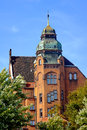 The townhouse with the tower of red brick Royalty Free Stock Photo