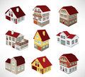 Townhouses in perspective vector illustration of Stock Photography
