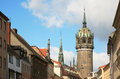 Townscape of the lutherstadt wittenberg in germany is a city bundesland saxony anhalt on october luther nailed his theses at door Stock Photography