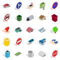 Township icons set, isometric style Royalty Free Stock Photo