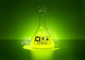 Toxic chemical a glowing in a bottle Royalty Free Stock Photos