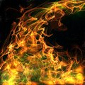 Toxic flames an abstract of fire illustration with green smoke Royalty Free Stock Photo
