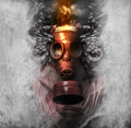 Toxic a man in a gas mask in the smoke artistic background Stock Images