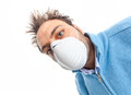 Toxic and polluted air young boy with mask respiratory protection on white background Stock Images
