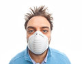 Toxic and polluted air young boy with mask respiratory protection on white background Stock Image