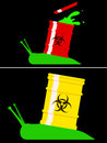Toxic snail with biohazard barrel Royalty Free Stock Photo