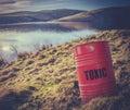 Toxic Waste Near Water Royalty Free Stock Photo