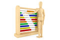 Toy abacus with wooden dummy Royalty Free Stock Photography