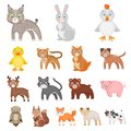 Toy animals cartoon icons in set collection for design. Bird, predator and herbivore vector symbol stock web