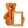 Toy bear with photo frame Stock Photos