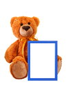 Toy bear with photo frame Royalty Free Stock Photography