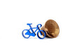 Toy bike and bell pic of Royalty Free Stock Images