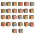 Toy blocks alphabet letters in 3D Royalty Free Stock Photo
