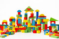 Toy Blocks City, Baby House Building Bricks, Kids Wooden Cubic Royalty Free Stock Photo