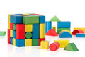 Toy blocks jigsaw cube multicolor puzzle pieces over white background Stock Photos