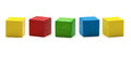 Toy blocks multicolor wooden game cube blank boxes isolated white background Stock Photos