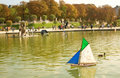 Toy boats in the Luxembourg Garden of Paris Royalty Free Stock Photography