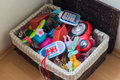 Toy box stock photo full of toys in a child s bedroom Royalty Free Stock Photography