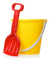 Toy bucket and scoop Arkivbild