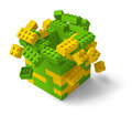 Toy building block tower collapsing 3D Royalty Free Stock Photo
