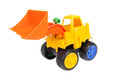 Toy bulldozer isolated on white Royalty Free Stock Photography