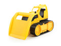 Toy bulldozer yellow isolated on white background Royalty Free Stock Images
