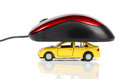 Toy car and computer mouse Royalty Free Stock Photo