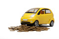 Toy car and heap of golden coins yellow isolated on white background Stock Photos